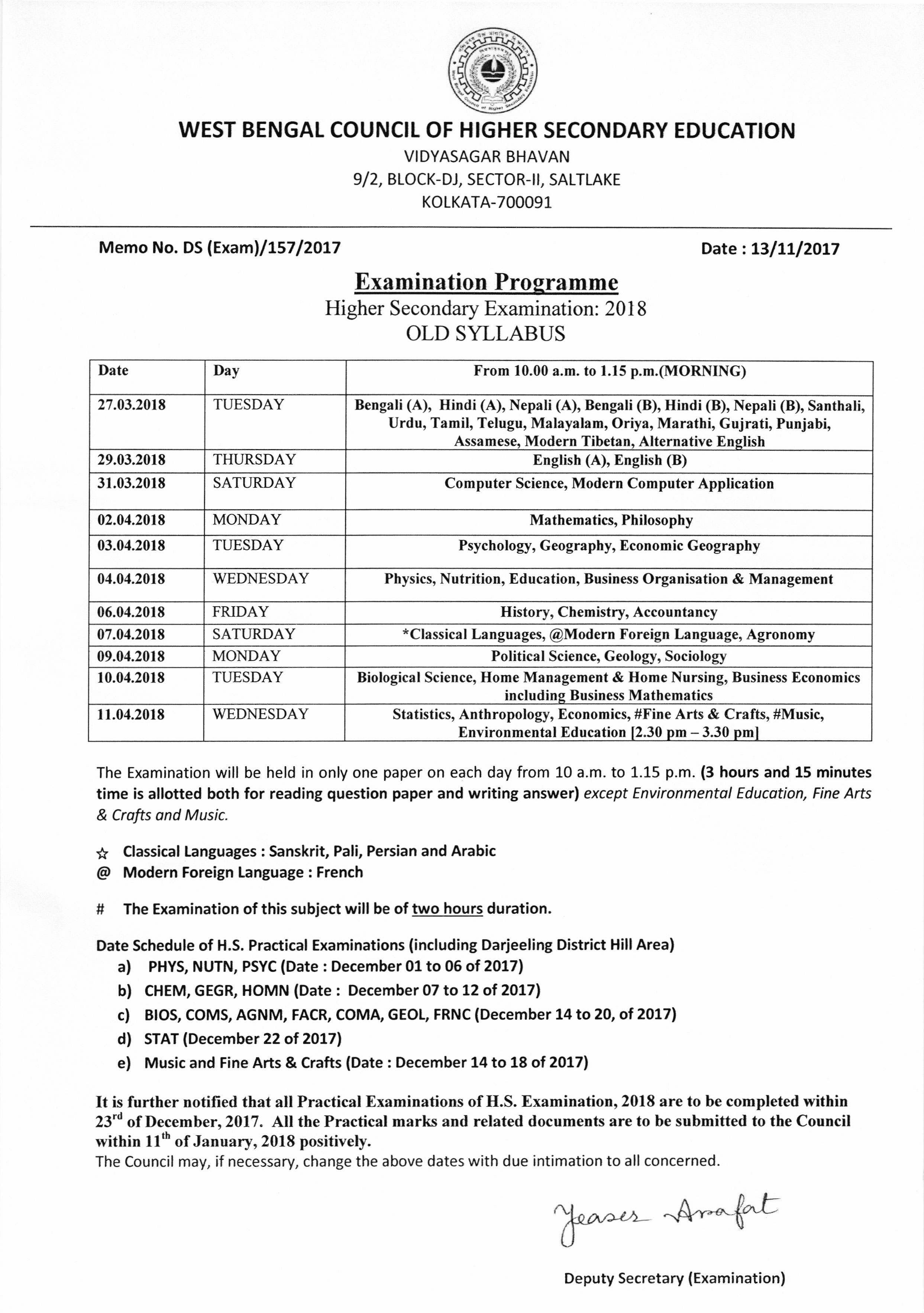 Higher Secondary Old Syllabus Routine (2018)