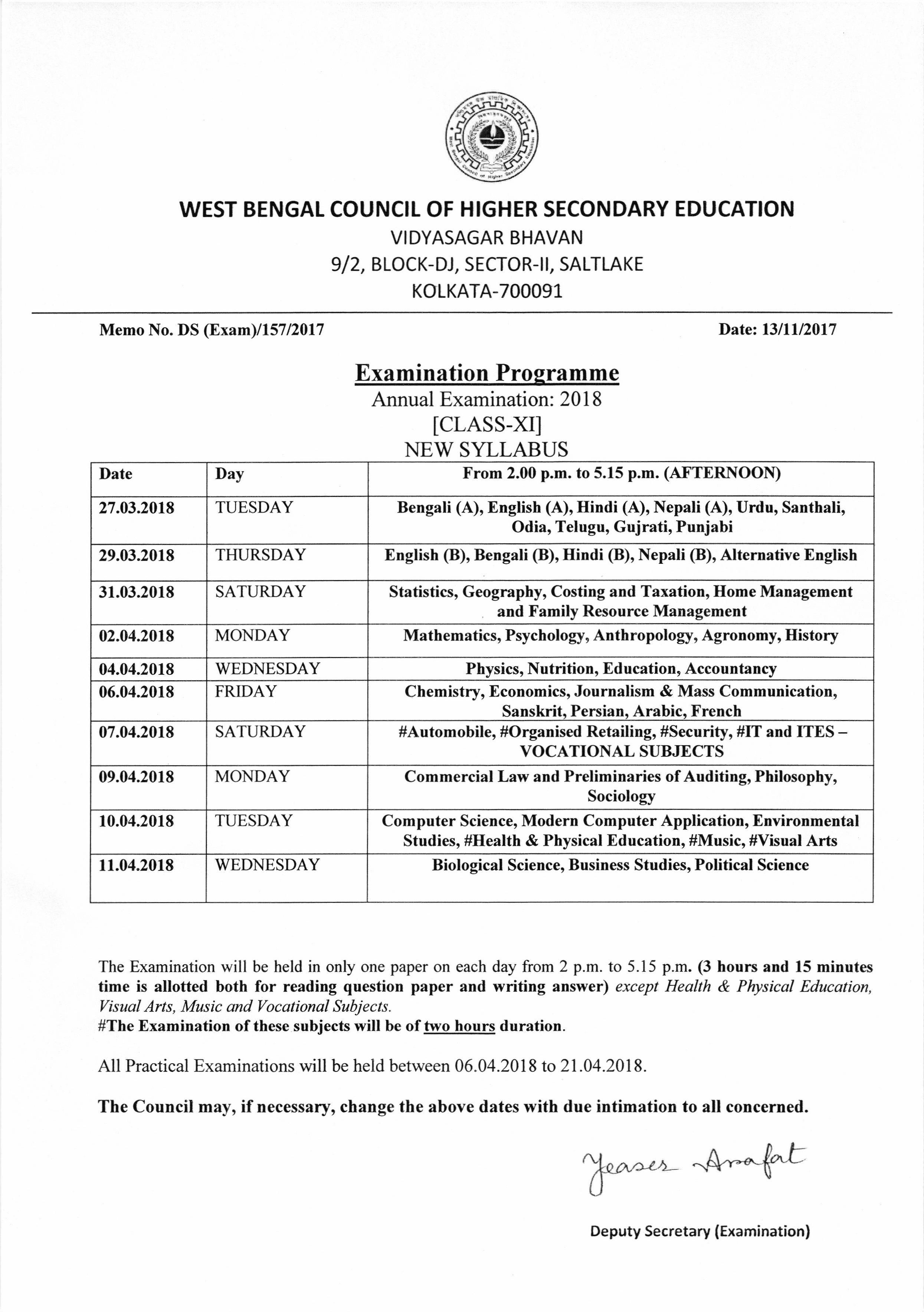 Image: Annual Examination Routine 2018 for Class XI (New Syllabus)