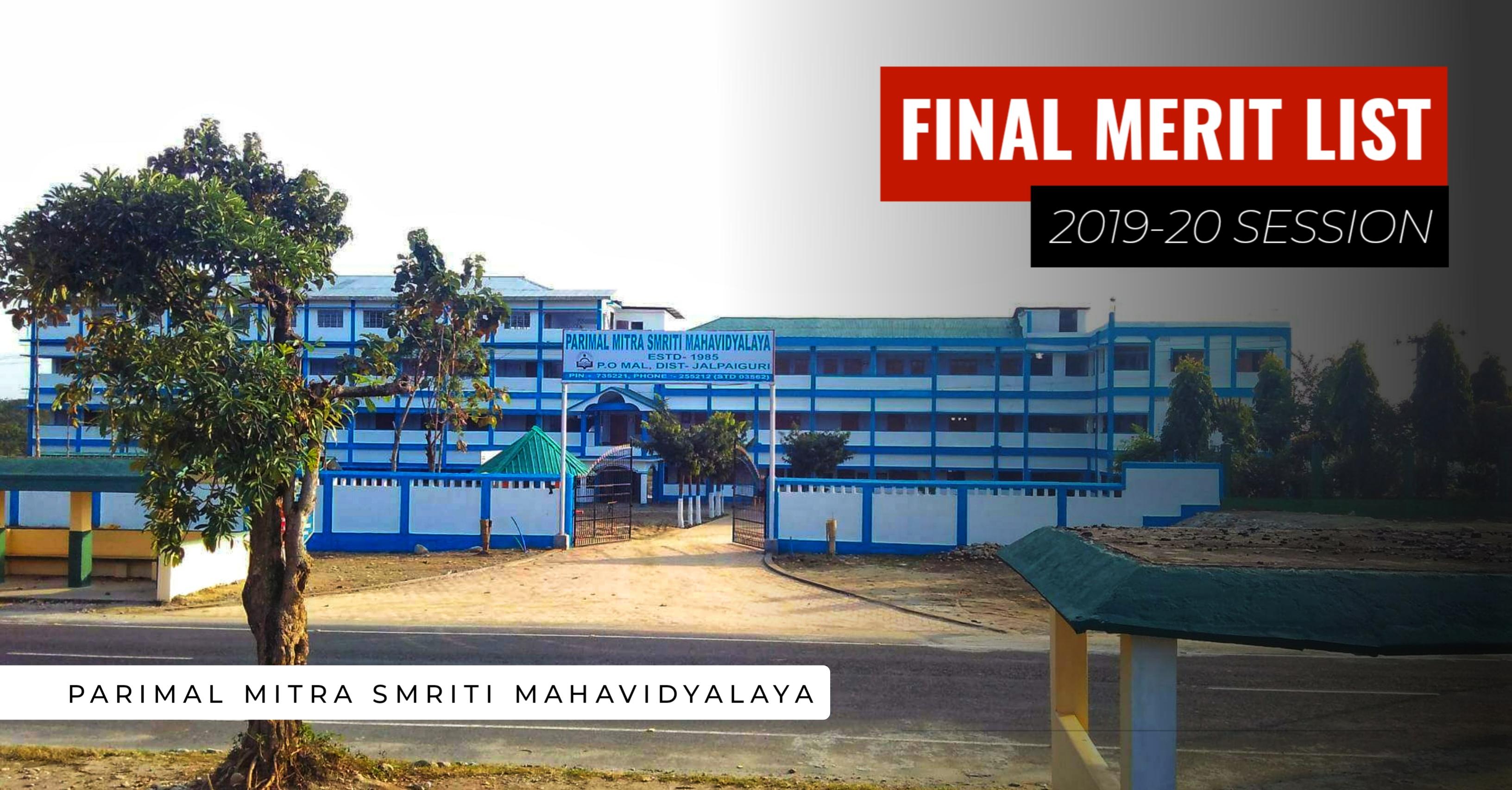 Final Merit List 2019 - PMS Mahavidyalaya Mal