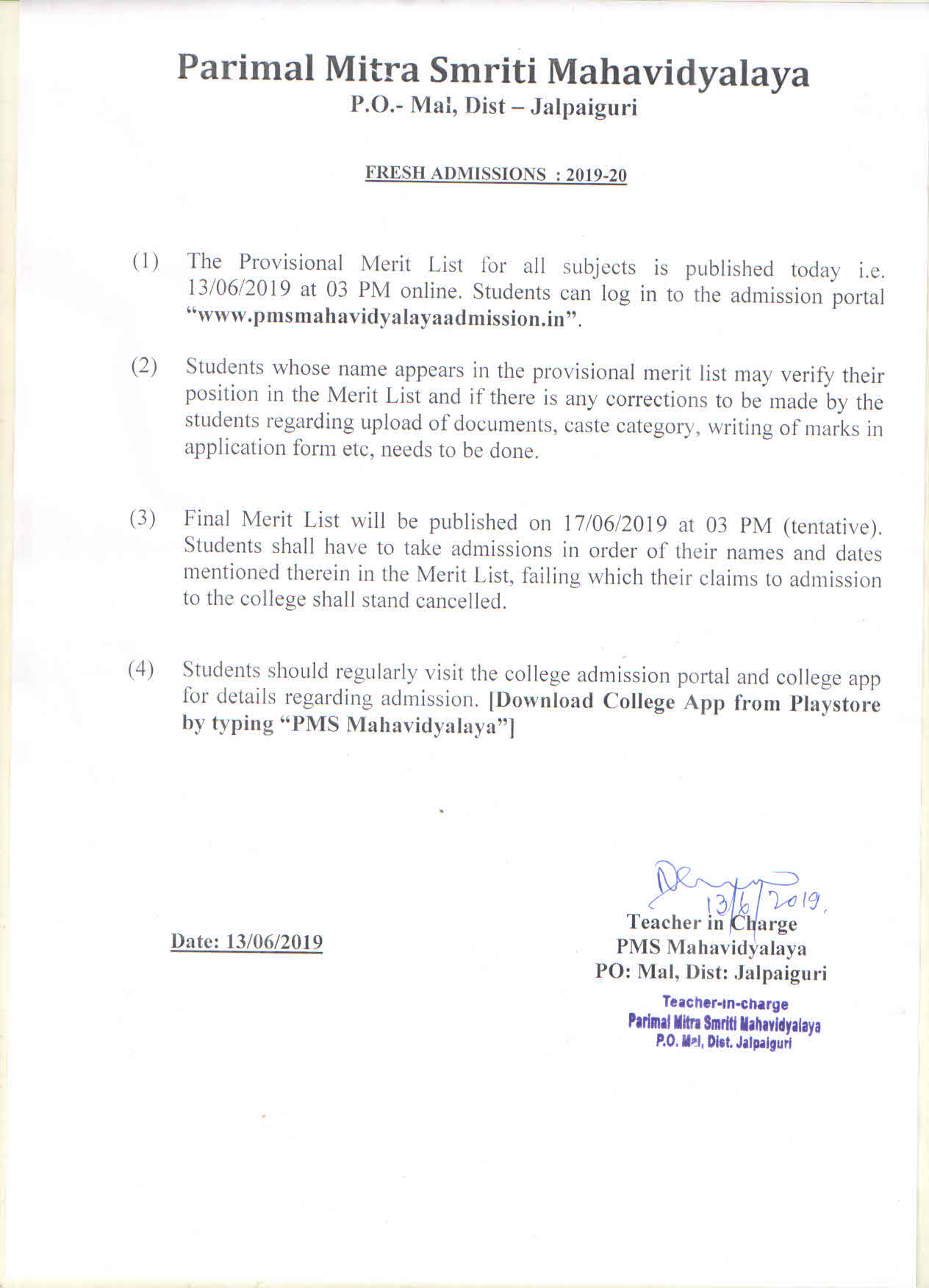 Merit List Notice